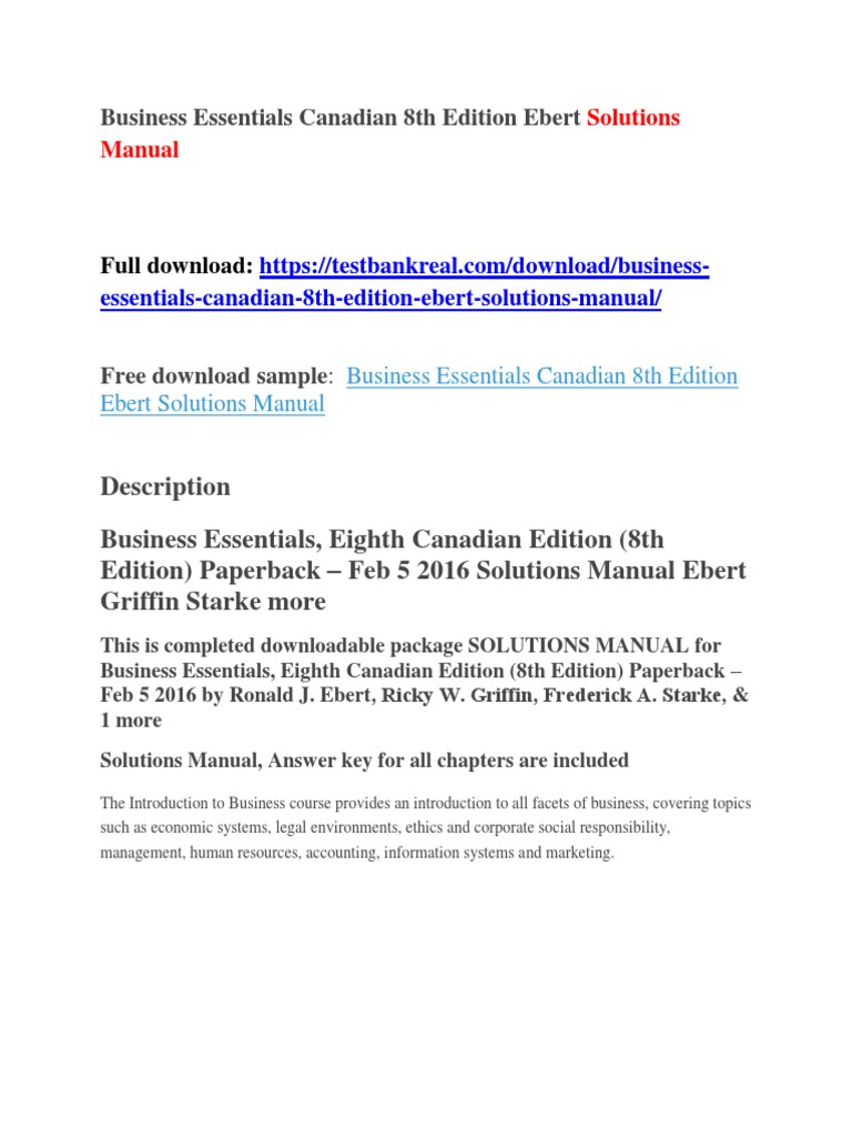Business Essentials Canadian 8th Edition Ebert Solutions Manual | Khmer  Rouge | Cambodia