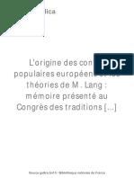 L'Origine Des Contes Populaires Européens [...]Cosquin Emmanuel