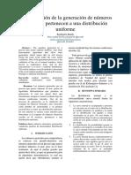 Comprobación de La Generación de Números Aleatorios Pertenecen a Una Distribución Uniforme