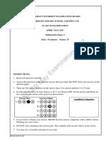 Mathematics HSSC 1 Paper I