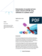 Determination Essential and Toxic Metals Blood Icp Ms Using Calibration Synthetic Matrix