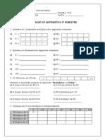 Avaliação Matemática 2º Bimestre