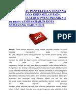 Efektivitas Penyuluhan Tentang Tanda Bahaya Kehamilan Pada Wanita Usia Subur (Wus) Pranikah Di Desa Tambakharjo Kota Semarang Tahun 2012