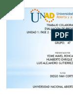 evaluacion de proyectoas Unidad 1Fase 3 G.47e