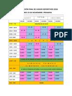 Programación Final de Juegos Deportivos 2018 Nivel Primaria