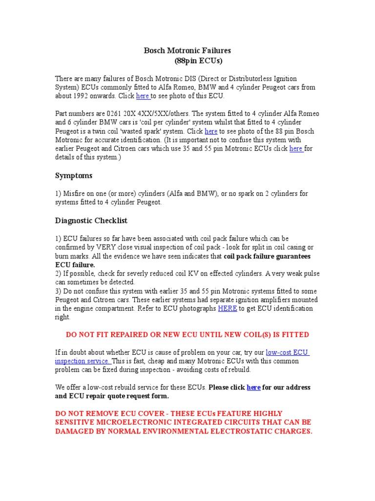 Bosch Motronic Failures