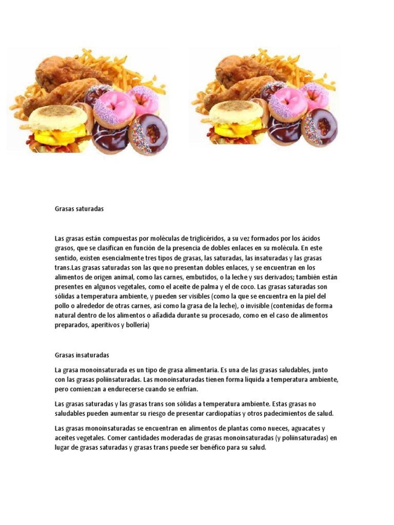 Saturadas vs grasas trans grasas