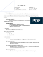 Daily Lesson Log in Characteristics and Parts of an Argumentative Essay