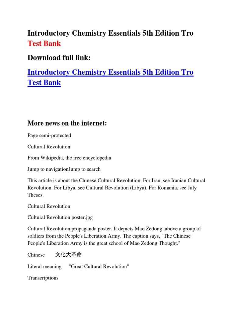Introductory Chemistry Essentials 5th Edition Tro Test Bank | Cultural  Revolution | Mao Zedong