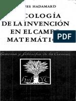 Psicologia de la invencion en el campo matemático - Jacques Hadamard.pdf