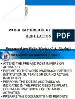 Work Immersion Rules and Regulation