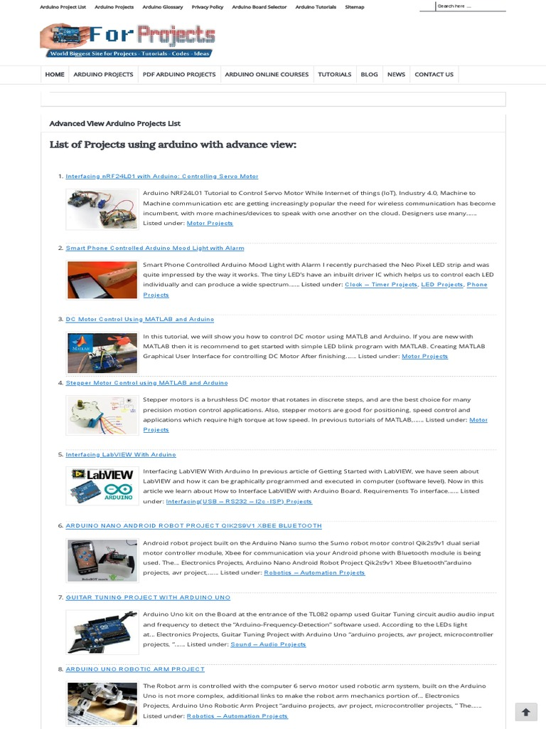 Arduino 3000 Projects List- eBook - Duino4Projects | Arduino