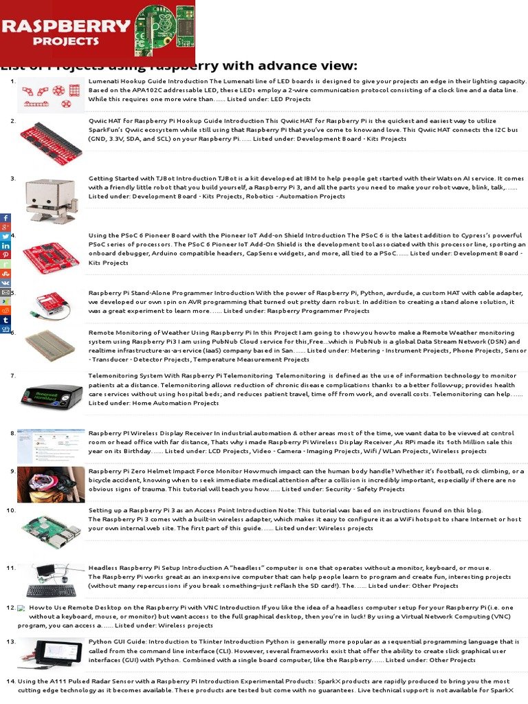 Projects Raspberry 1500 Projects List- eBook - RaspberryProjects