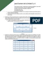 Ejercicios Para Examen de La Unidad 3 y 4
