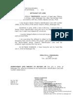 Affidavit of Loss- Perlita a. Tabisaura