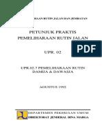 Petunjuk Praktis Pemeliharaan Rutin Jalan Upr 027 Pemeliharaan Rutin Damija Dawasja