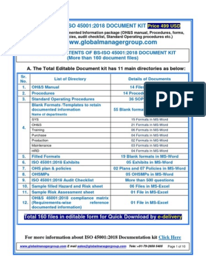 iso-45001-2018-manual-documents pdf | Audit | Risk