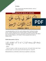 Bacaan Shahih Setelah Shalat Dhuha
