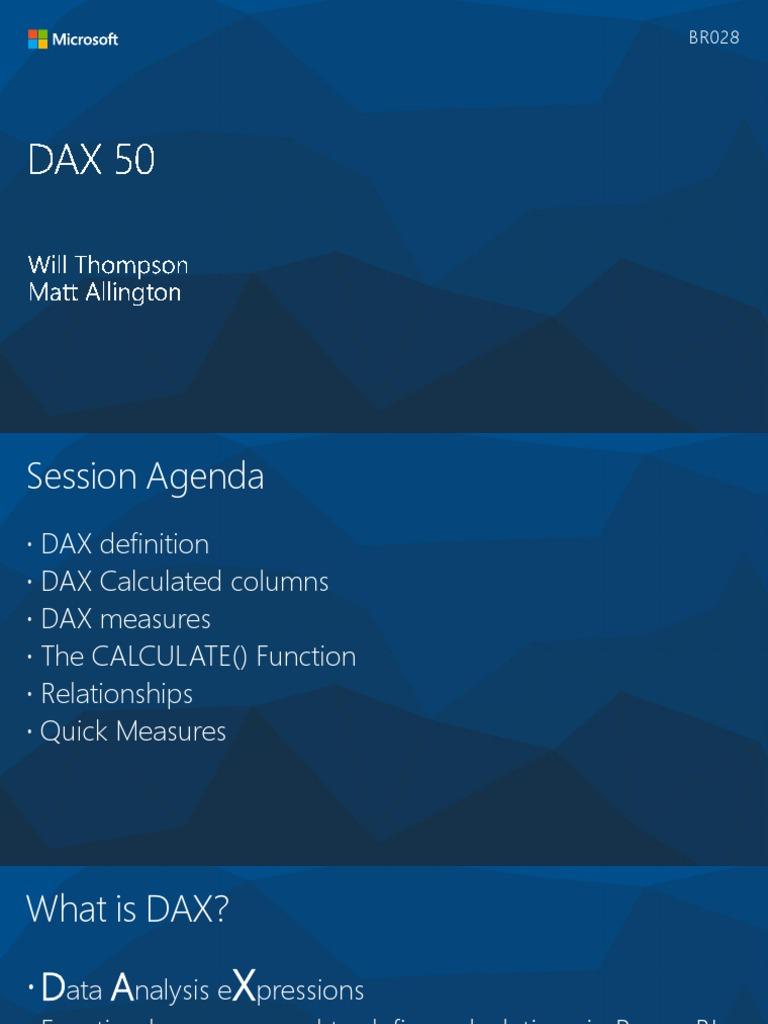 Dax | Microsoft Excel | Information Technology Management