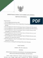 Surat Edaran Penggunaan Surveyor Dalam Rangka Pelaksanaan Kegiatan Penjualan Pengapalan Mineral Dan Batubara