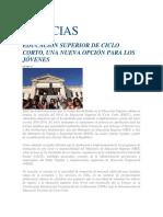 EDUCACIÓN SUPERIOR DE CICLO CORTO, UNA NUEVA OPCIÓN PARA LOS JÓVENES