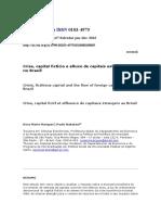 Crise, Capital Fictício e Afluxo de Capitais Estrangeiros No Brasil