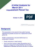 AUSD Parcel Tax Presentation 101410