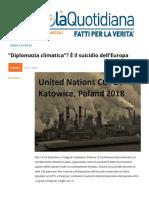 Diplomazia Climatica e Il Suicidio Dell'europa