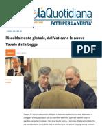 Riscaldamento Globale, Dal Vaticano Le Nuove Tavole Della Legge