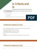 Scientific Criteria and Methods