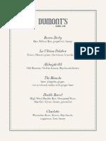 DuMont's Down Low Cocktail Menu