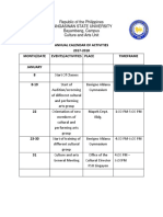 Calendar of Activities CHORALE