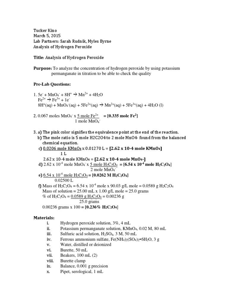 Analysis_of_Hydrogen_Peroxide docx | Redox | Chemistry