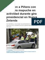 Reciben a Piñera Con Bandera Mapuche en Actividad Durante Gira Presidencial en Nueva Zelanda
