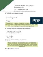 Rumus Mean Median Modus Untuk Data Tunggal Dan Berkelompok