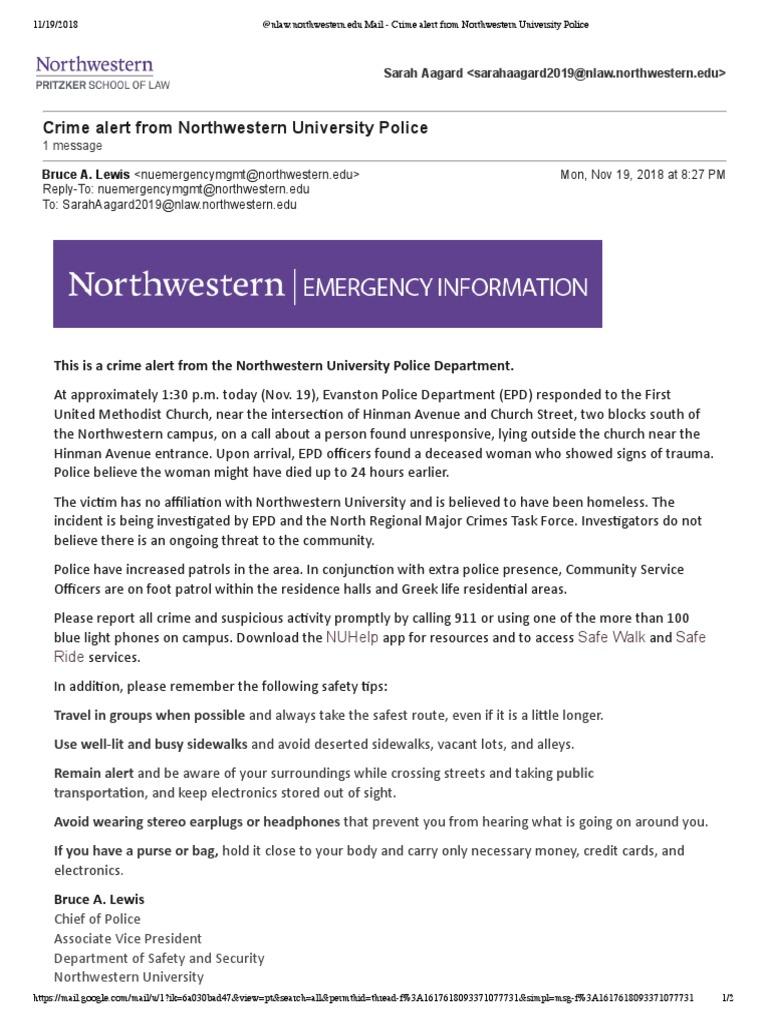 Nov  19 Northwestern Crime Alert | Law Enforcement (6 views)
