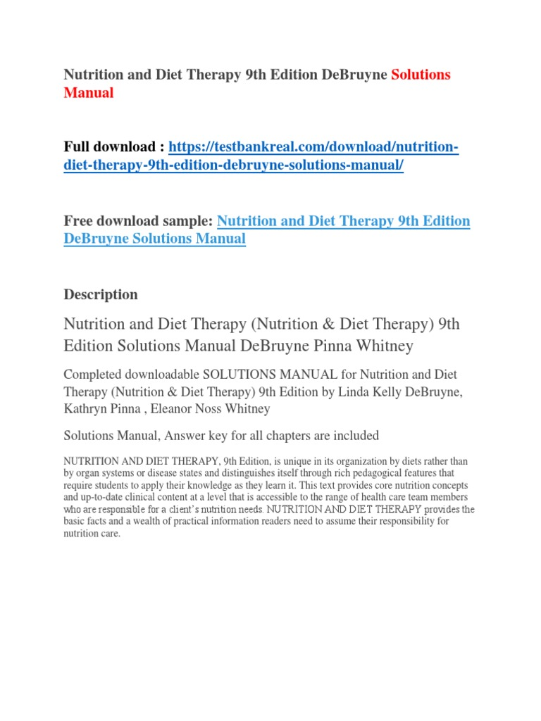 Nutrition and Diet Therapy 9th Edition DeBruyne Solutions Manual | Apple  Inc. | Papua New Guinea
