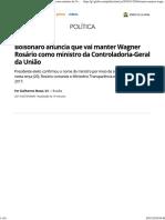 Bolsonaro Anuncia Que Vai Manter Wagner Rosário Como Ministro Da Controladoria-Geral Da União Política