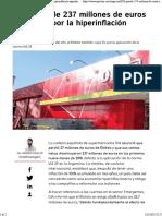 DIA Pierde 237 Millones de Euros en Ventas Por La Hiperinflación Argentina