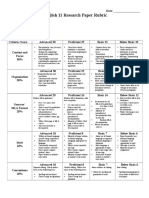 Historical Research Report Rubric