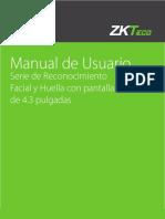 Reconocimiento Facial Huella Pantalla 4.3 Manual de Usuario