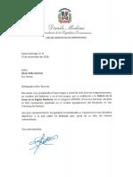 Carta de felicitación del presidente Danilo Medina a Víctor Félix Sánchez por su exaltación a la Galería de la Fama de la Región Nordeste