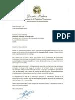 Carta de condolencias del presidente Danilo Medina a monseñor Diómedes Espinal de León por fallecimiento de monseñor Pablo Cedano