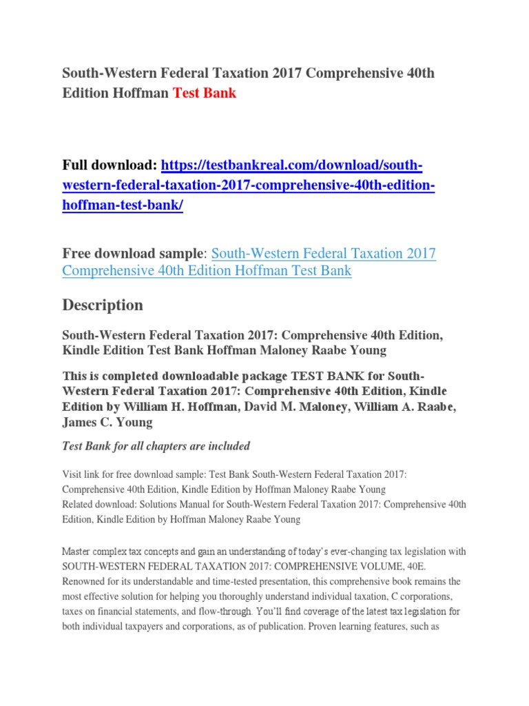 South-Western Federal Taxation 2017 Comprehensive 40th Edition Hoffman Test  Bank | Benjamin Netanyahu | Belize
