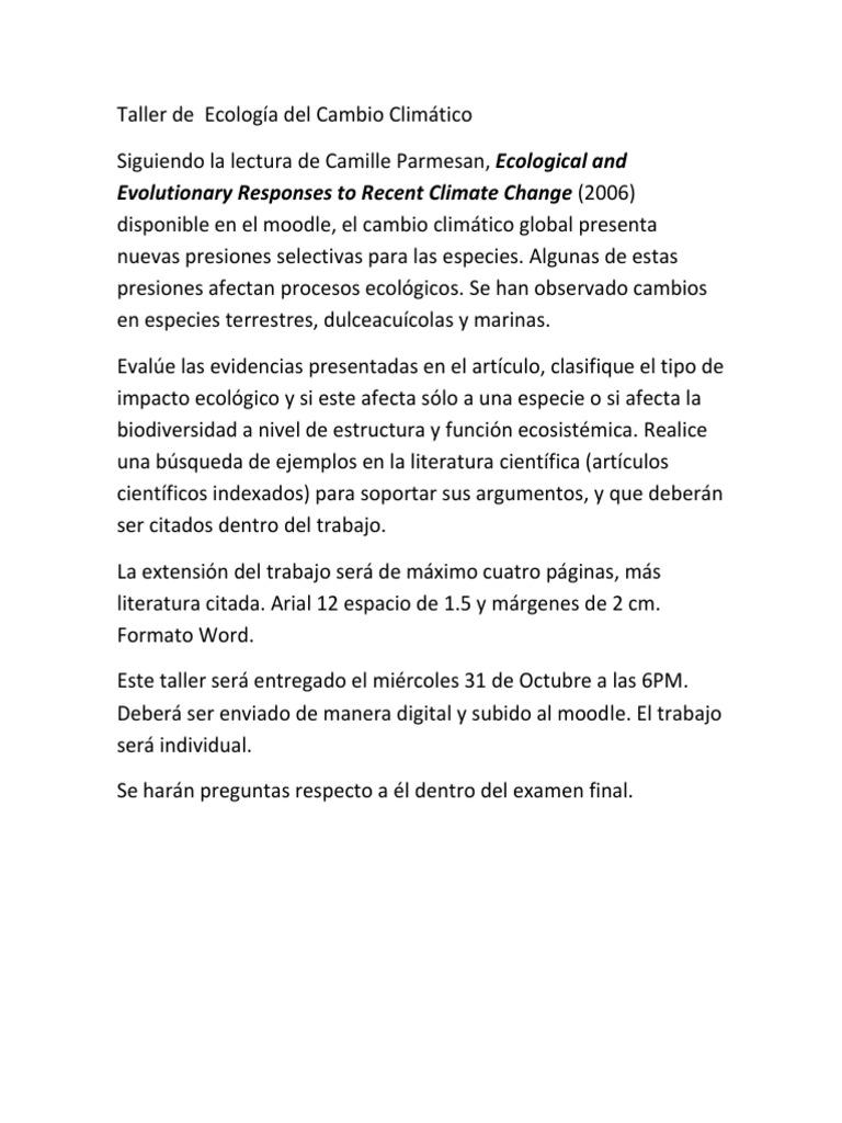 Taller De Ecología Del Cambio Climático 2018 2