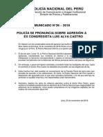 COMUNICADO PNP N° 36 - 2018