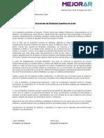 Pedido de Traslado de Embajada Argentina en Israel