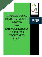 Informe Final Del Mes de Agosto 2016 - Tungasuca