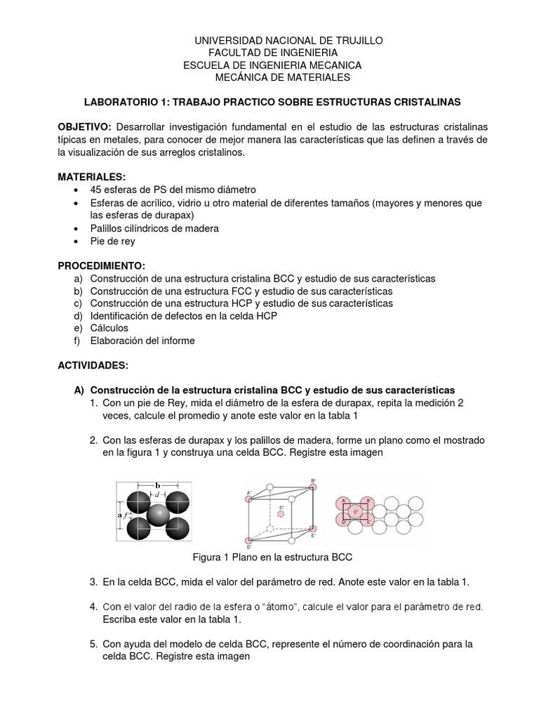 Laboratorio 01 Estructuras Cristalinas Docx Estructura