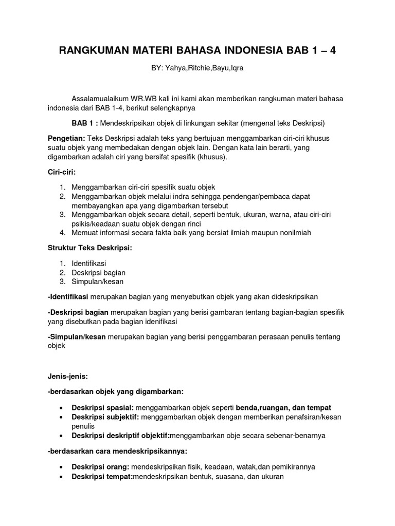 Rangkuman Materi Bahasa Indonesia Bab 1